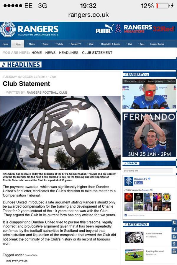 Original statement about Telfer ruling