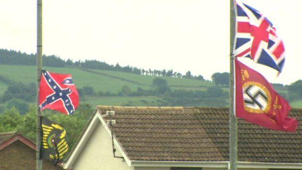 Confederate Flag and Nazi Flag in Carrickfergus 2015