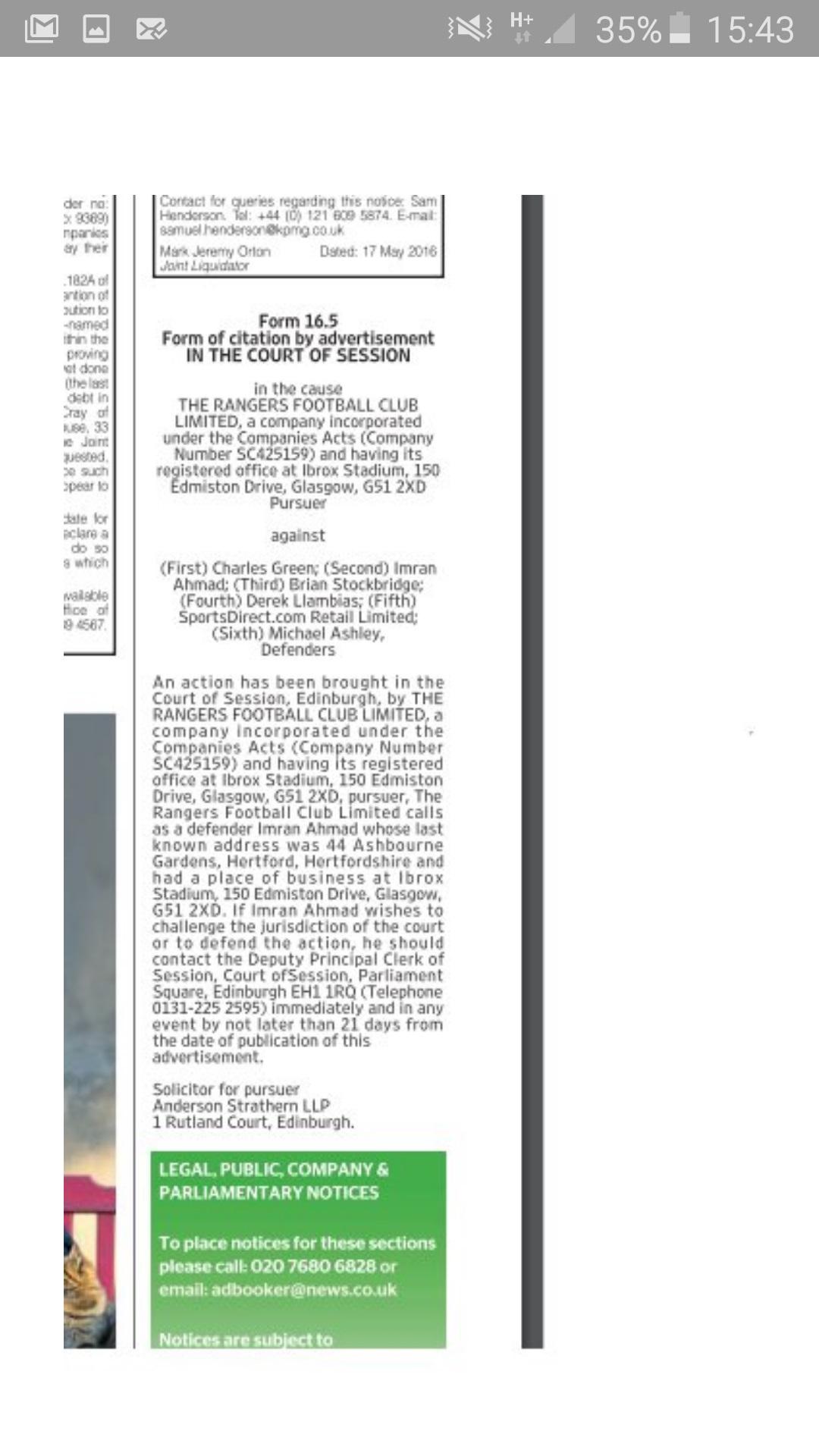 Sevco Litigation notice